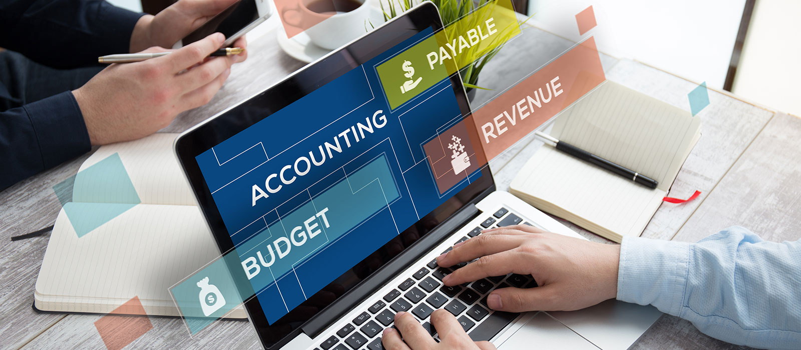 Laptop with accounting terms